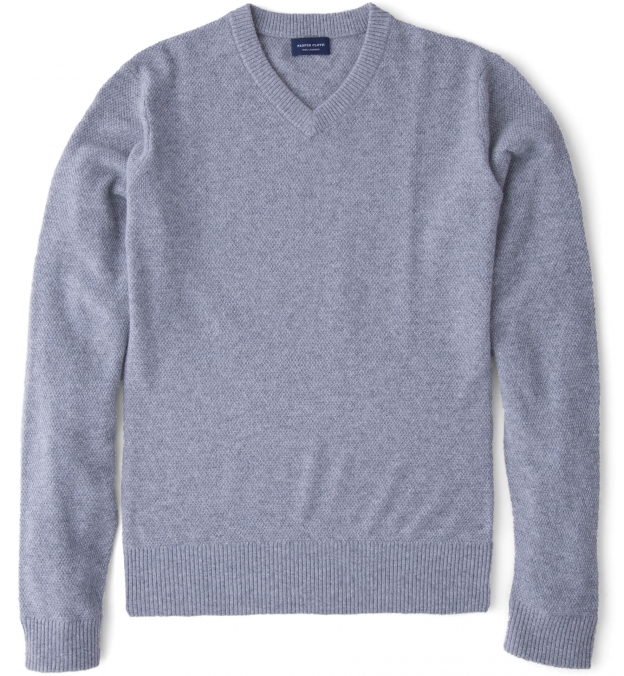 Light Grey Cobble Stitch Cashmere V-Neck Sweater