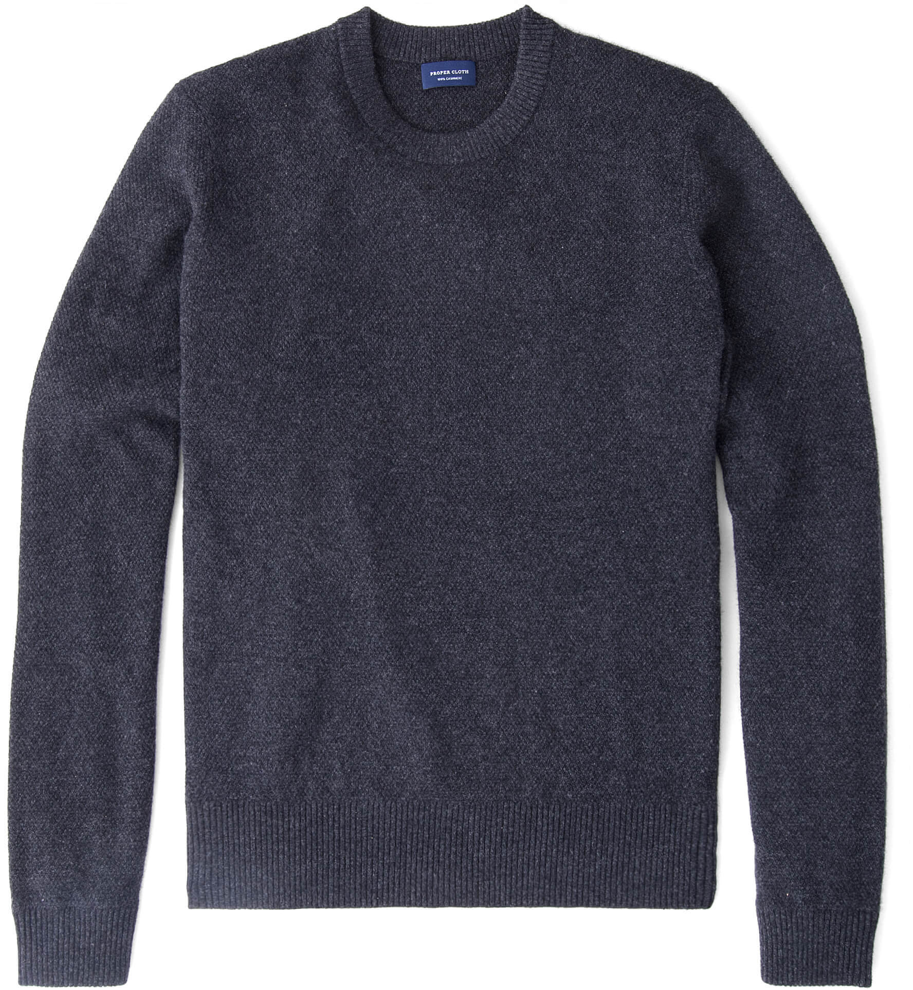 Zoom Image of Charcoal Cobble Stitch Cashmere Crewneck Sweater