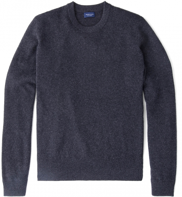 Charcoal Cobble Stitch Cashmere Crewneck Sweater
