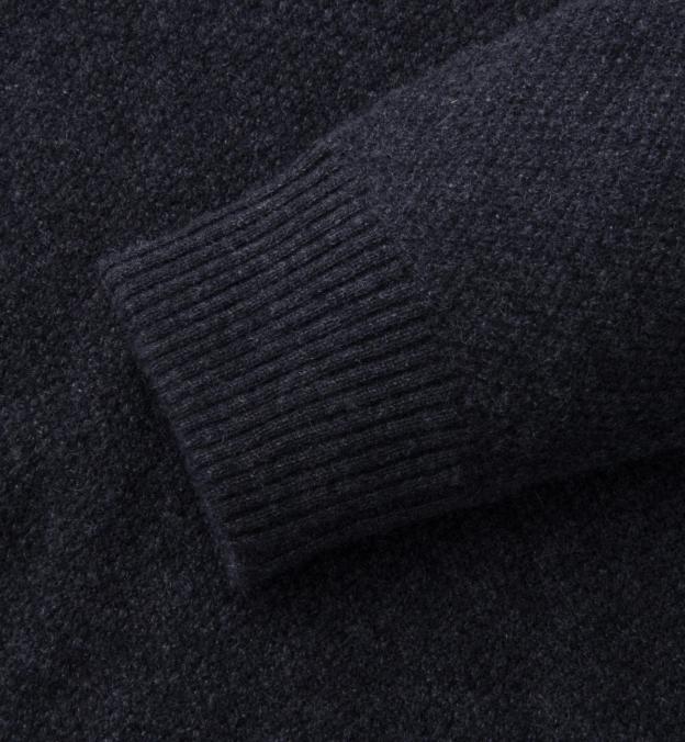 Charcoal Cobble Stitch Cashmere Crewneck Sweater