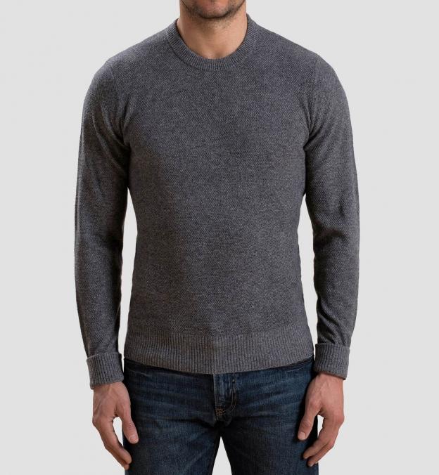 Grey Cobble Stitch Cashmere Crewneck Sweater