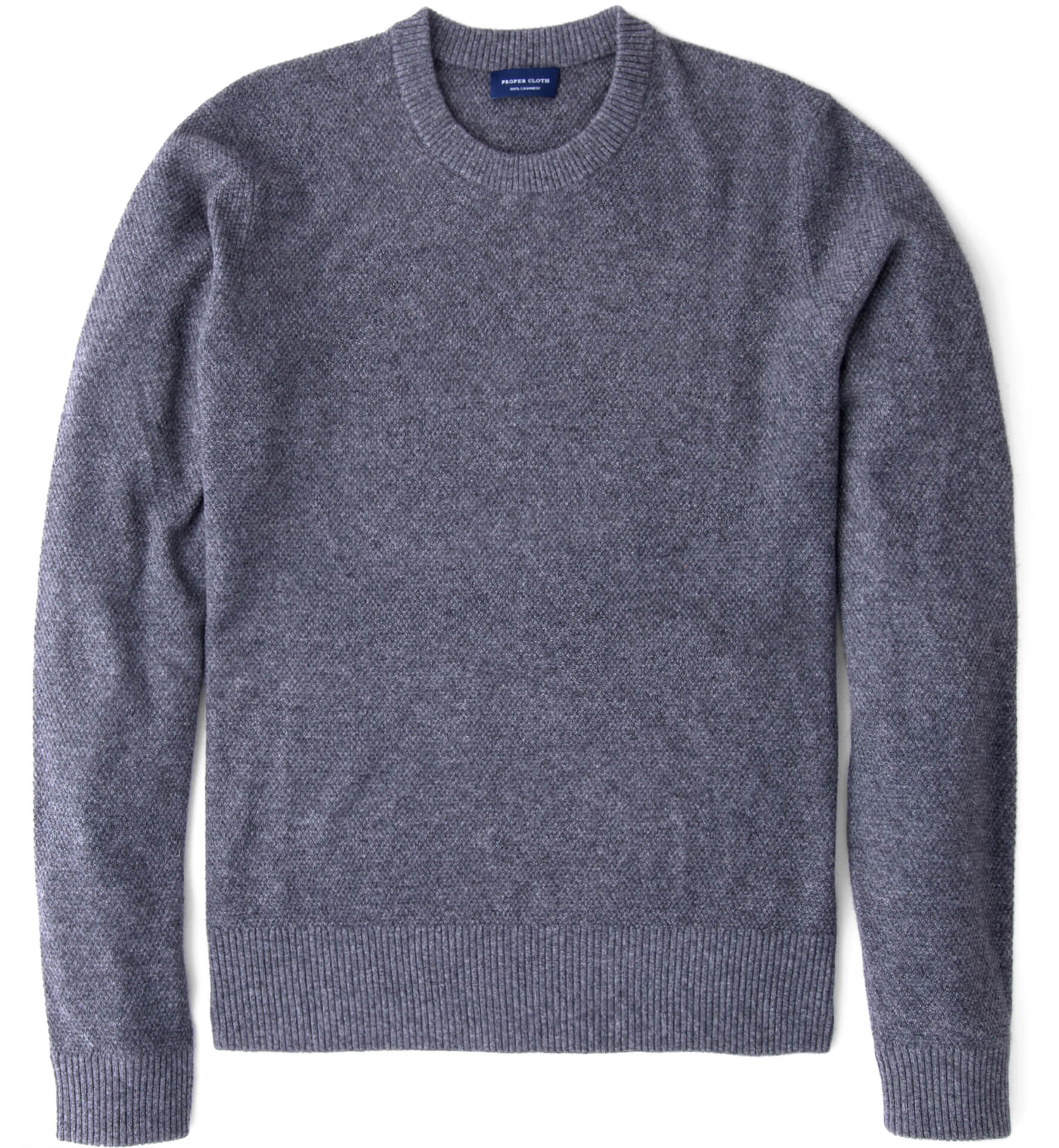Zoom Image of Grey Cobble Stitch Cashmere Crewneck Sweater