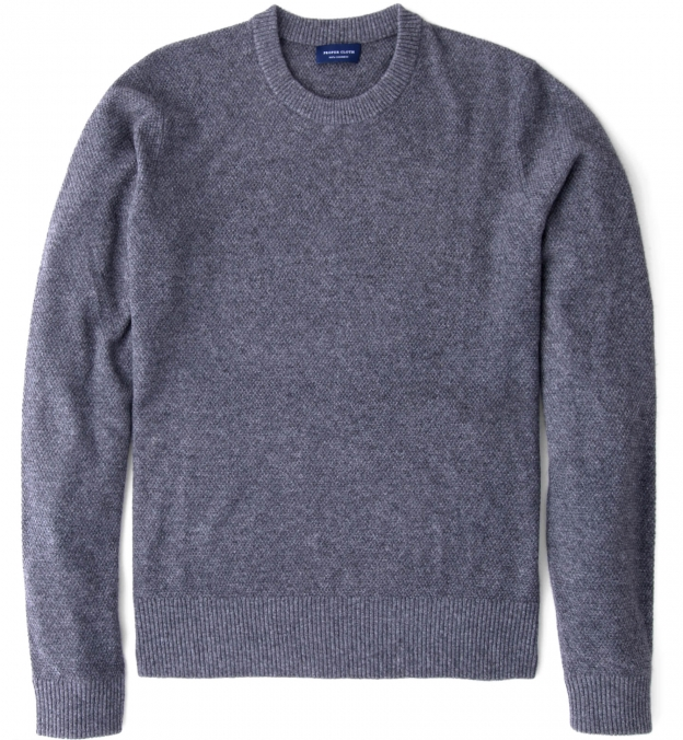 Grey Cobble Stitch Cashmere Crewneck Sweater