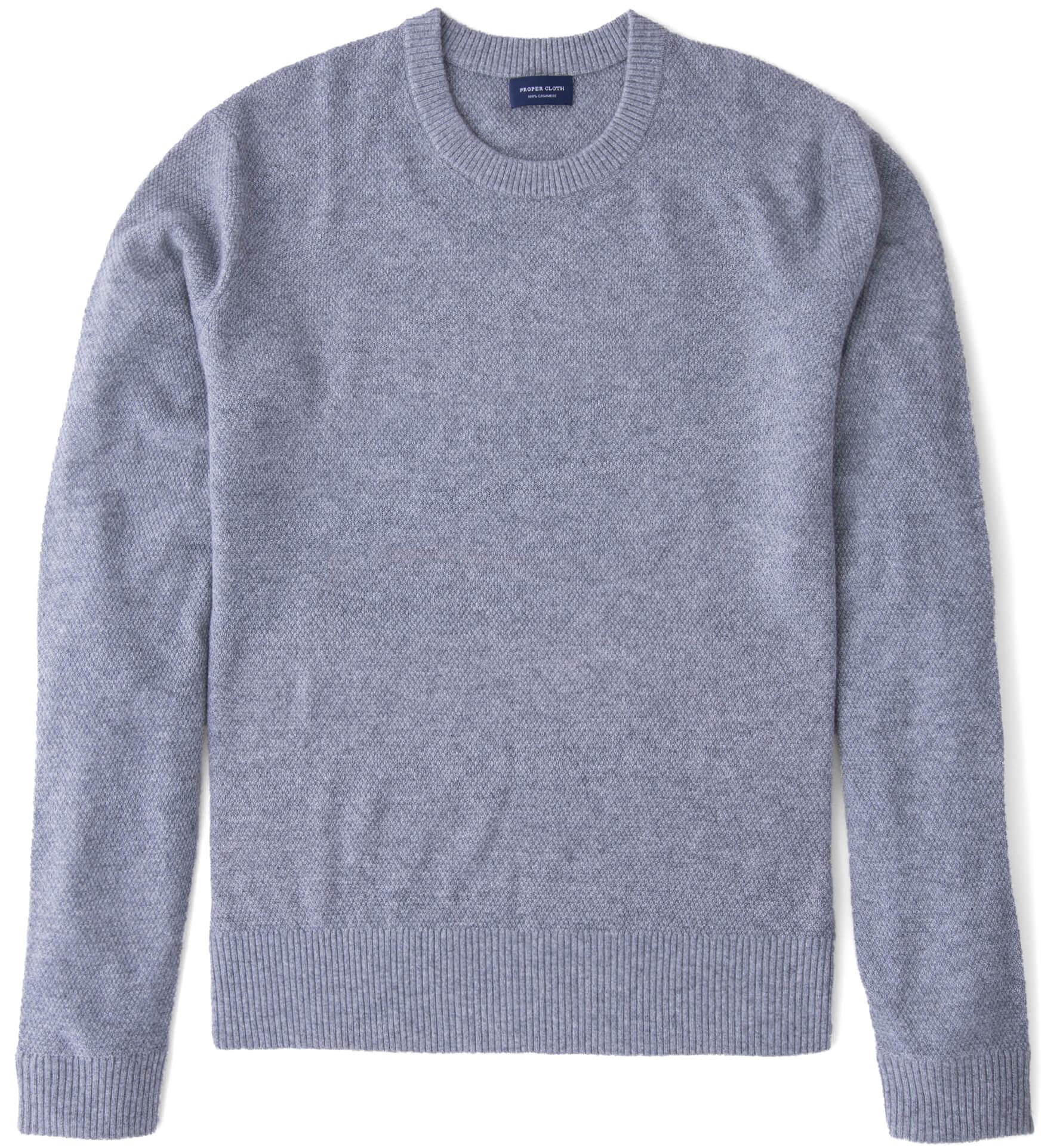Zoom Image of Light Grey Cobble Stitch Cashmere Crewneck Sweater