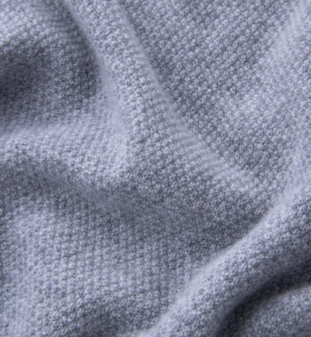 Light Grey Cobble Stitch Cashmere Crewneck Sweater