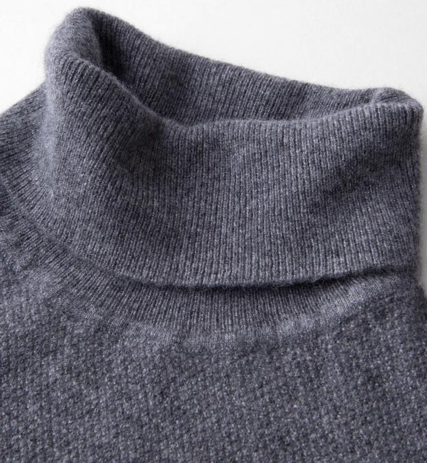 Grey Cobble Stitch Cashmere Turtleneck Sweater