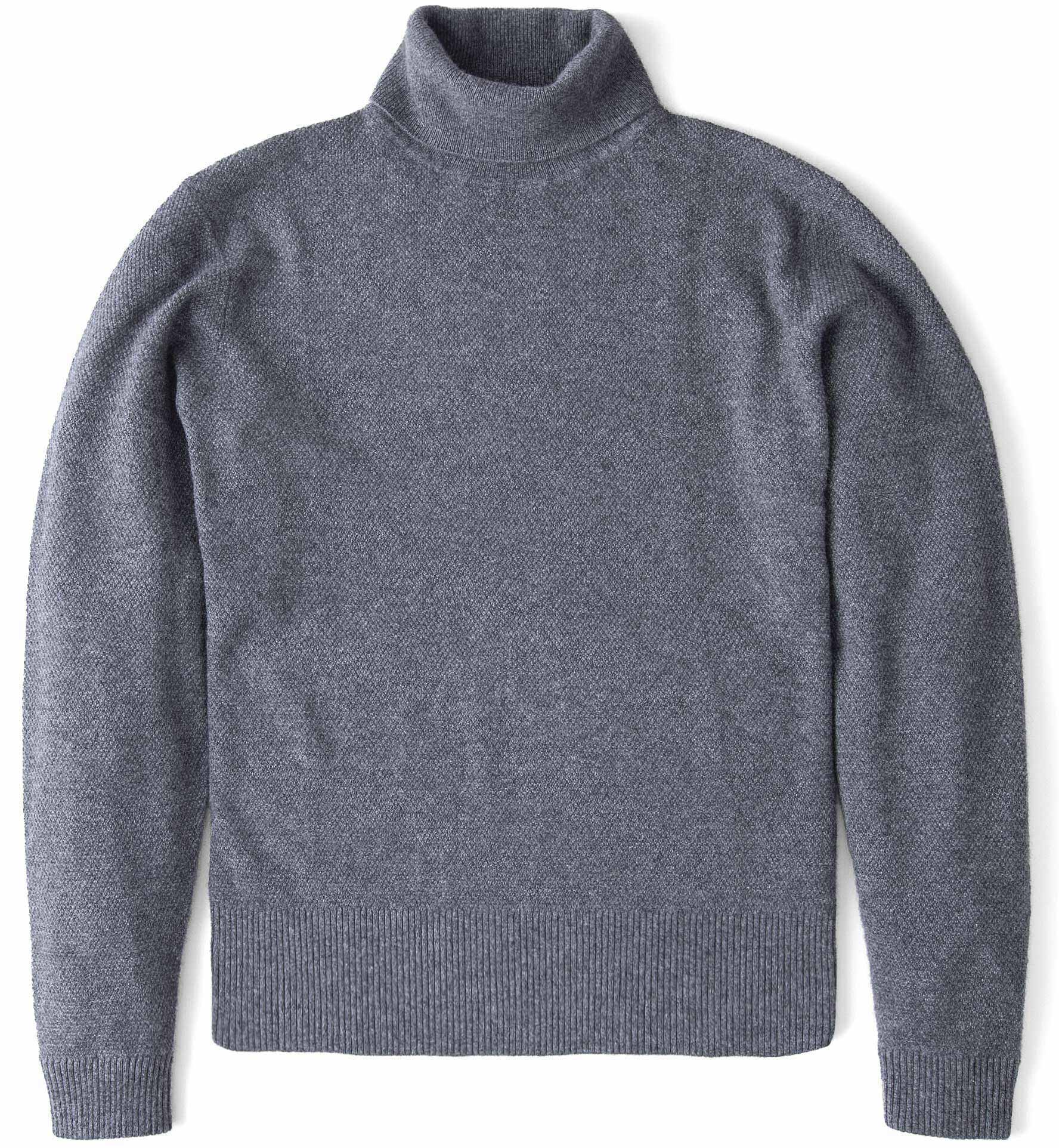 Zoom Image of Grey Cobble Stitch Cashmere Turtleneck Sweater