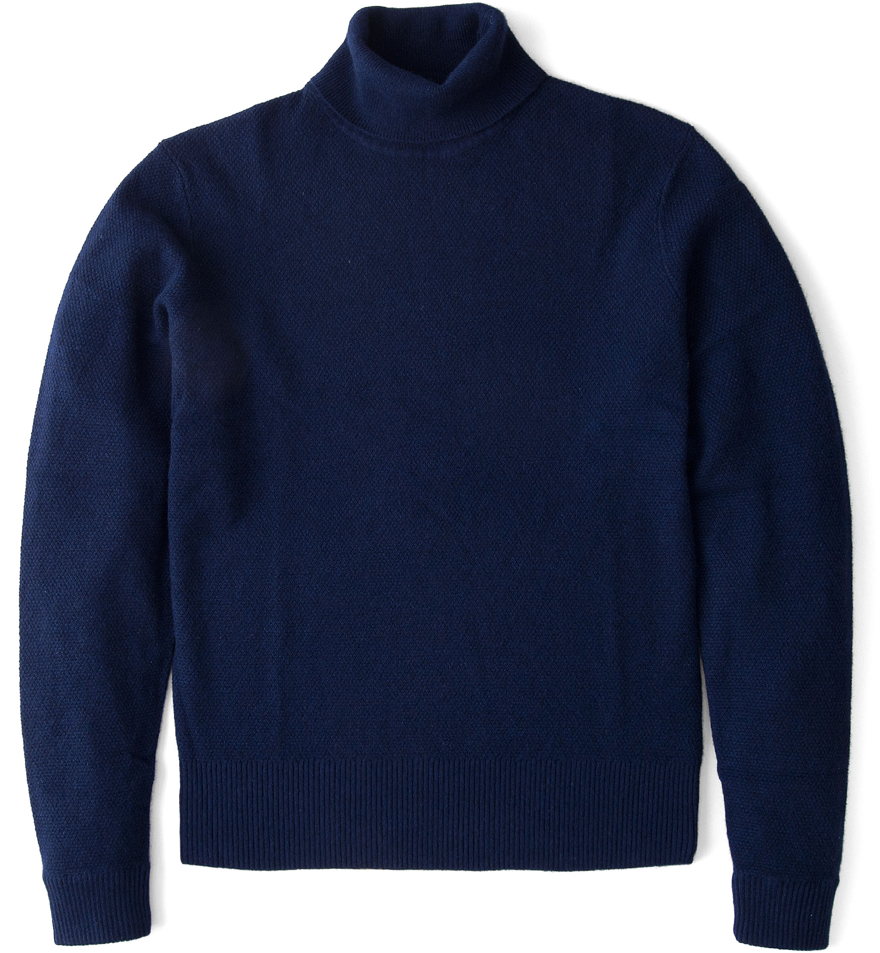 Zoom Image of Navy Cobble Stitch Cashmere Turtleneck Sweater