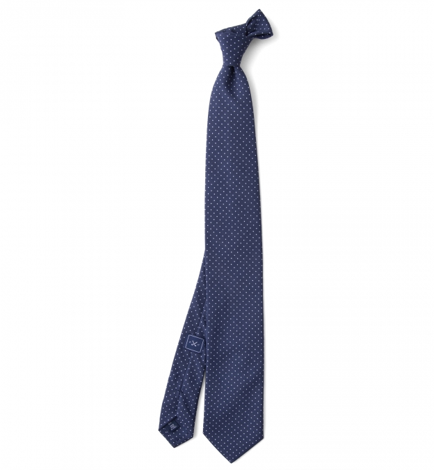 Navy and White Printed Pindot Tie