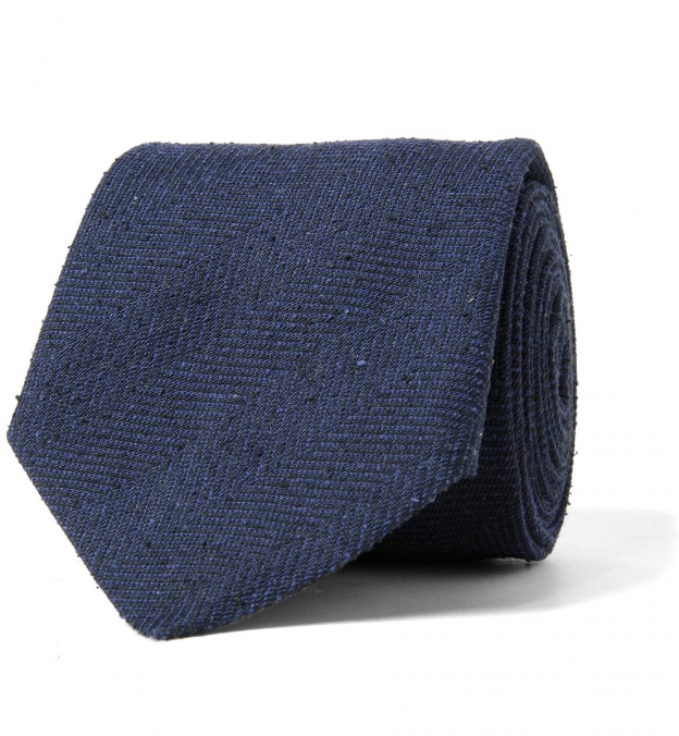 Navy Herringbone Raw Silk Tie