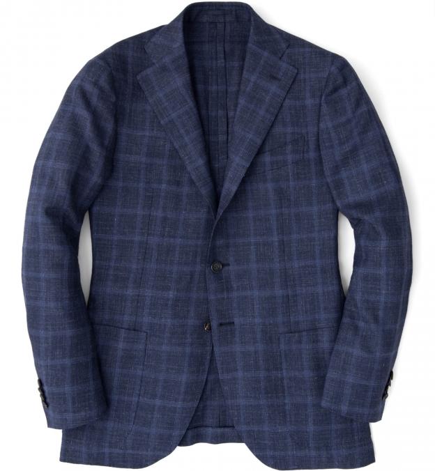 Hudson Navy Windowpane Summer Twill Jacket