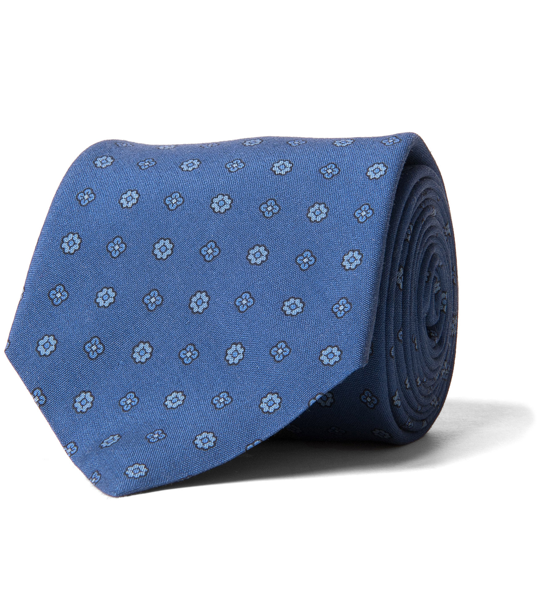 Zoom Image of Ocean Blue Grey and Light Blue Small Foulard Print Tie