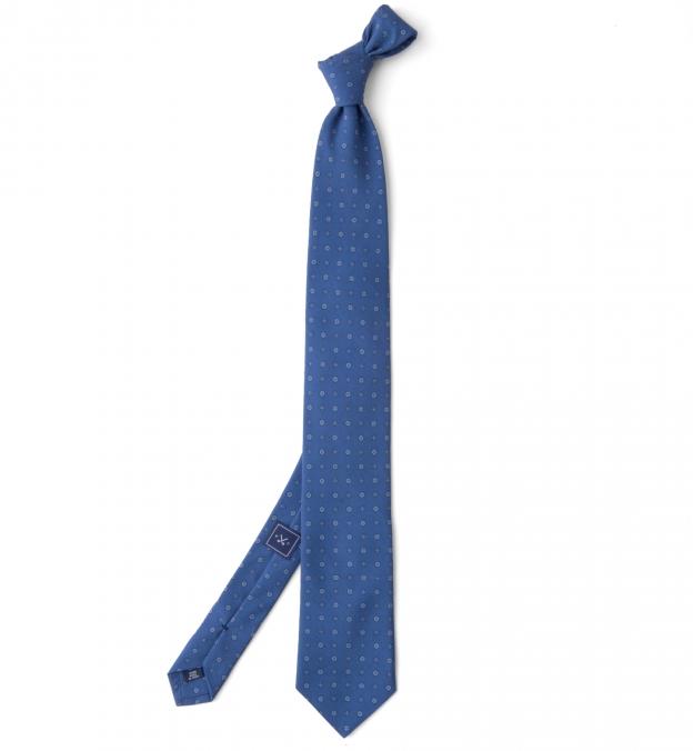 Ocean Blue Grey and Light Blue Small Foulard Print Tie