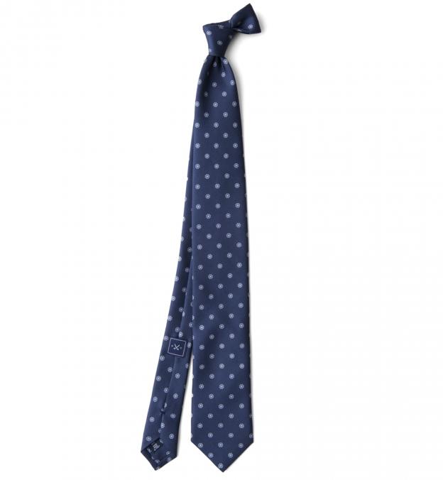 Navy and Grey Silk Foulard Tie