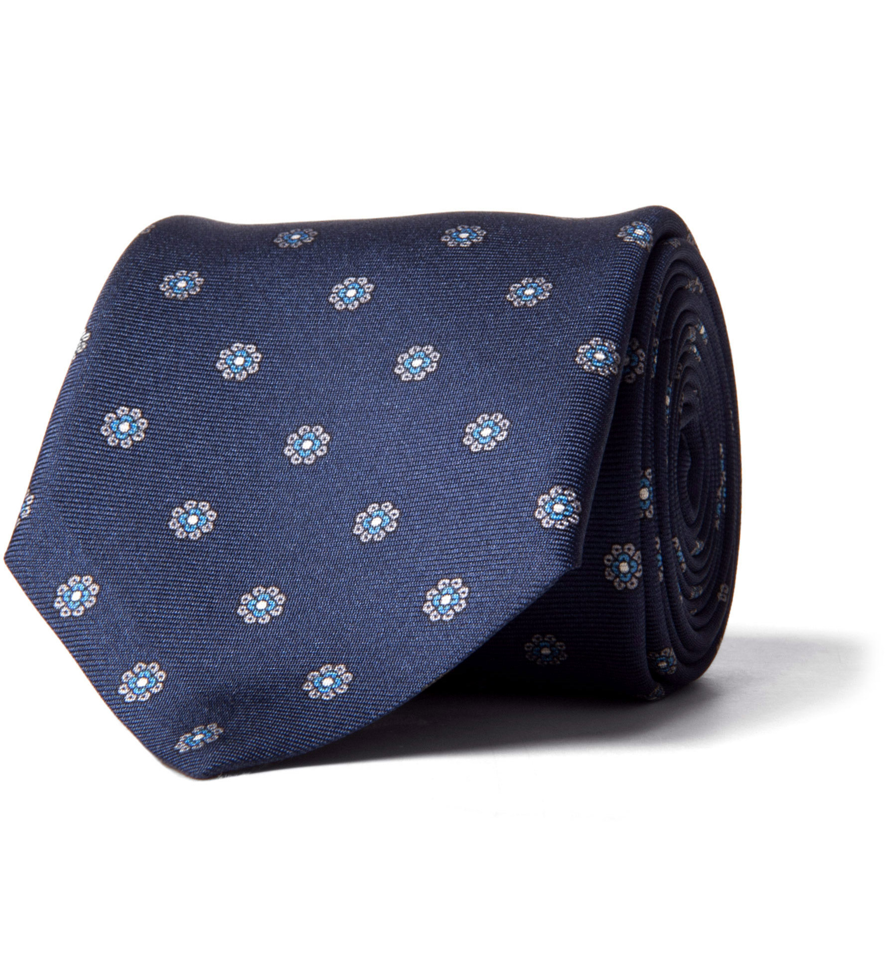 Zoom Image of Navy and Grey Silk Foulard Tie