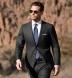 Navy and Grey Silk Foulard Tie Product Thumbnail 5