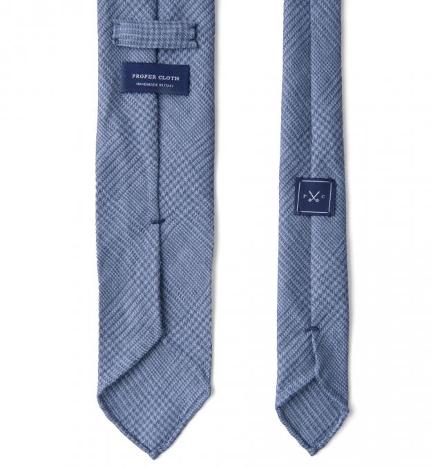 Slate Blue Glen Plaid Linen Tie