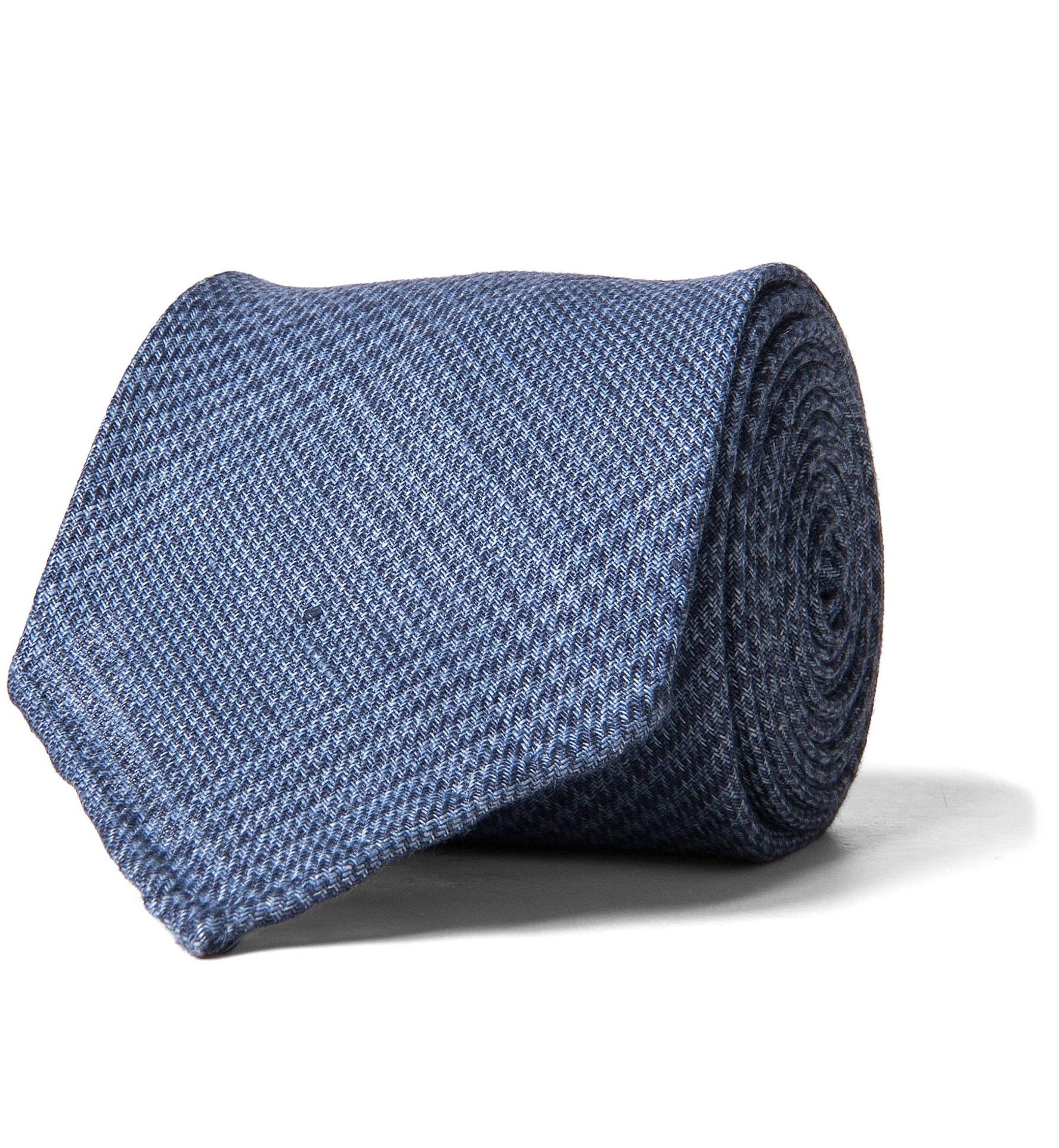Zoom Image of Slate Blue Glen Plaid Linen Tie