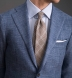 Beige and Light Blue Prince of Wales Linen Tie Product Thumbnail 5
