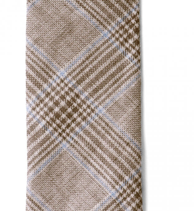 Beige and Light Blue Prince of Wales Linen Tie
