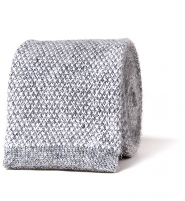Torino Grey Cashmere Knit Tie