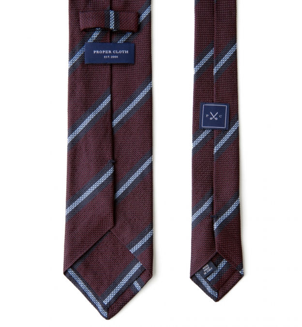 Burgundy and Blue Striped Silk Grenadine Tie