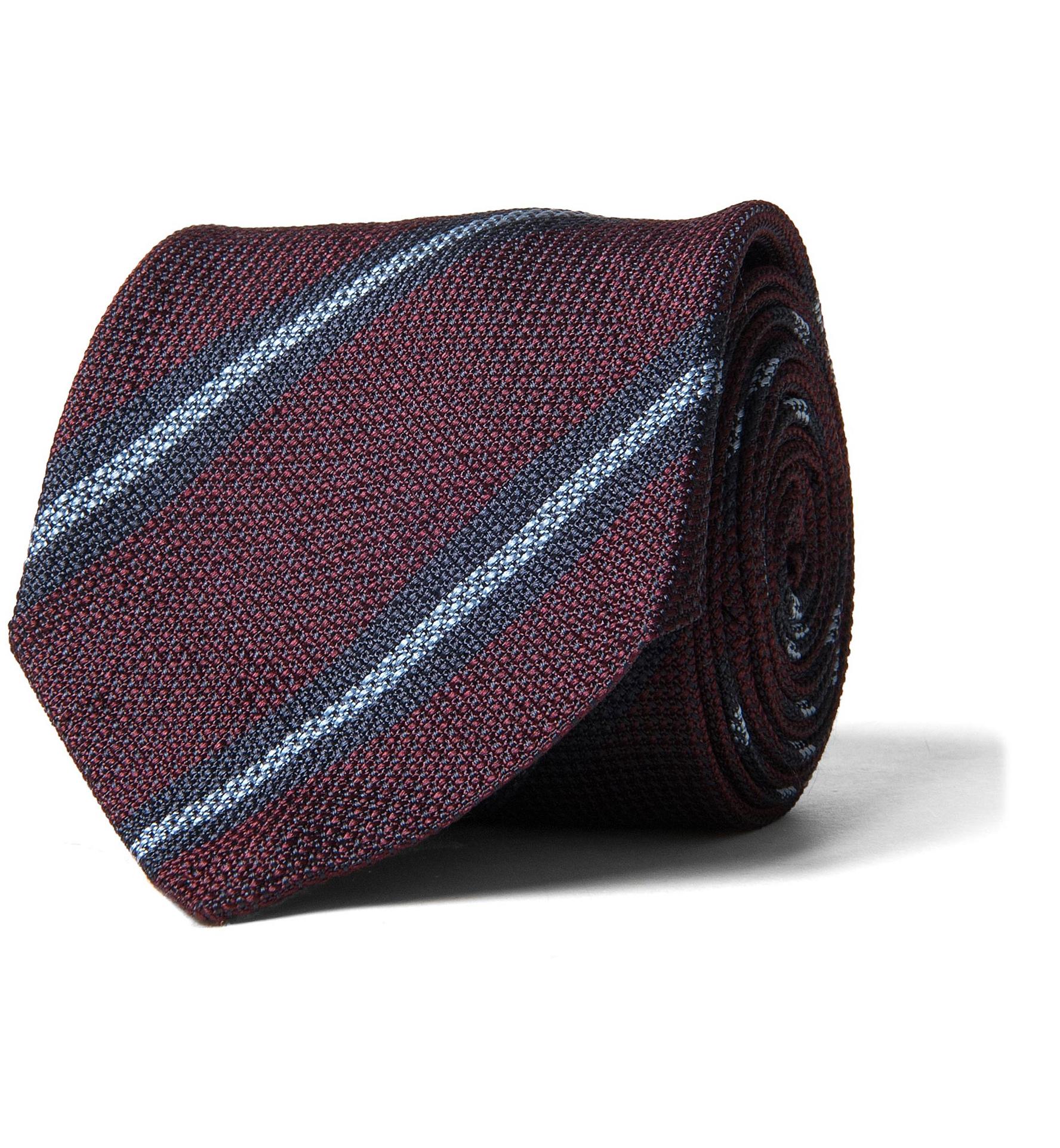 Zoom Image of Burgundy and Blue Striped Silk Grenadine Tie