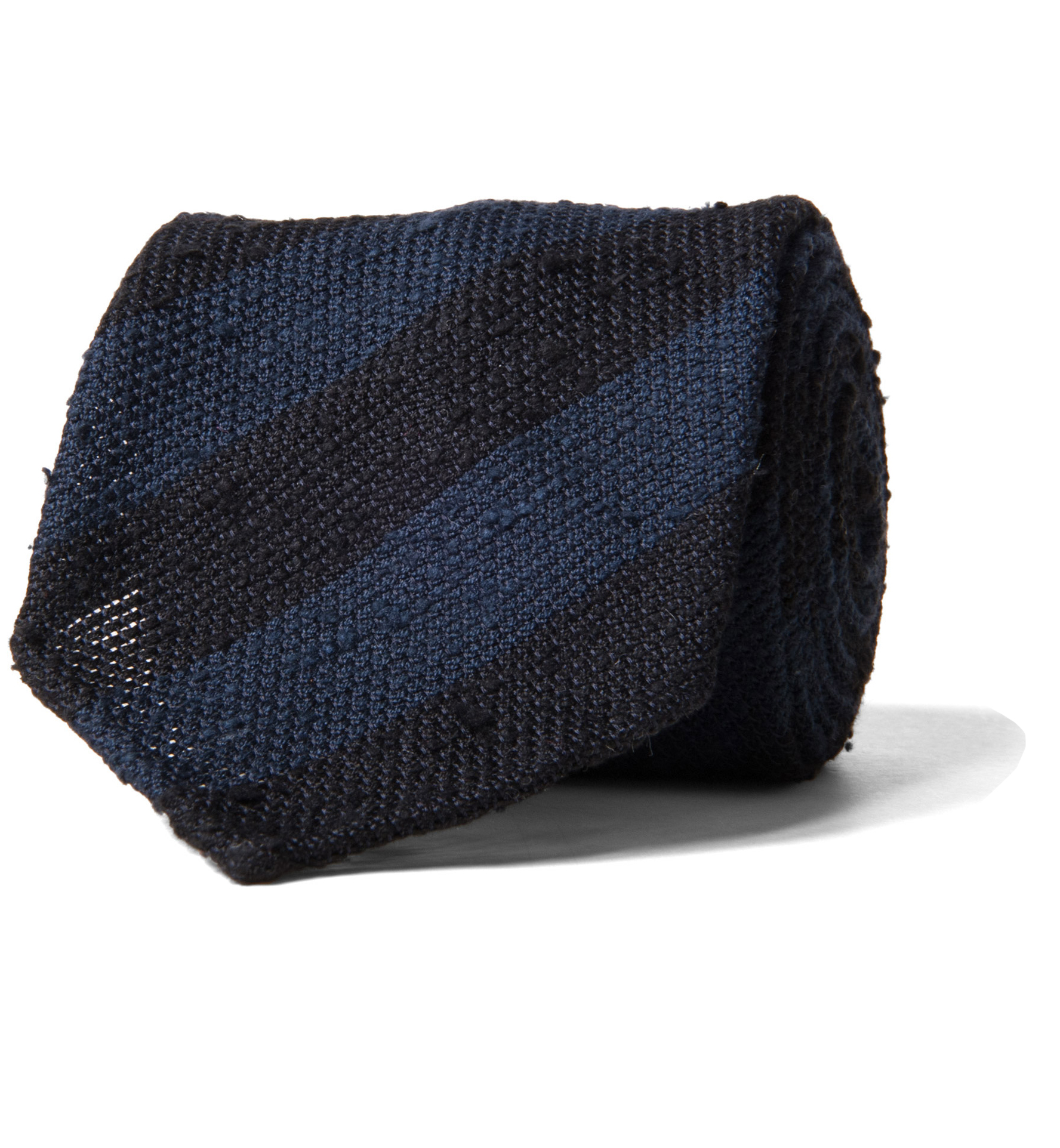 Zoom Image of Midnight and Navy Striped Shantung Grenadine Tie