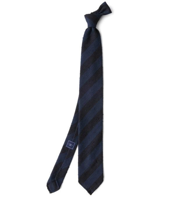 Midnight and Navy Striped Shantung Grenadine Tie