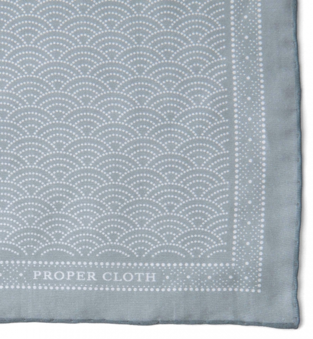 Sage Printed Fan Cotton and Silk Pocket Square