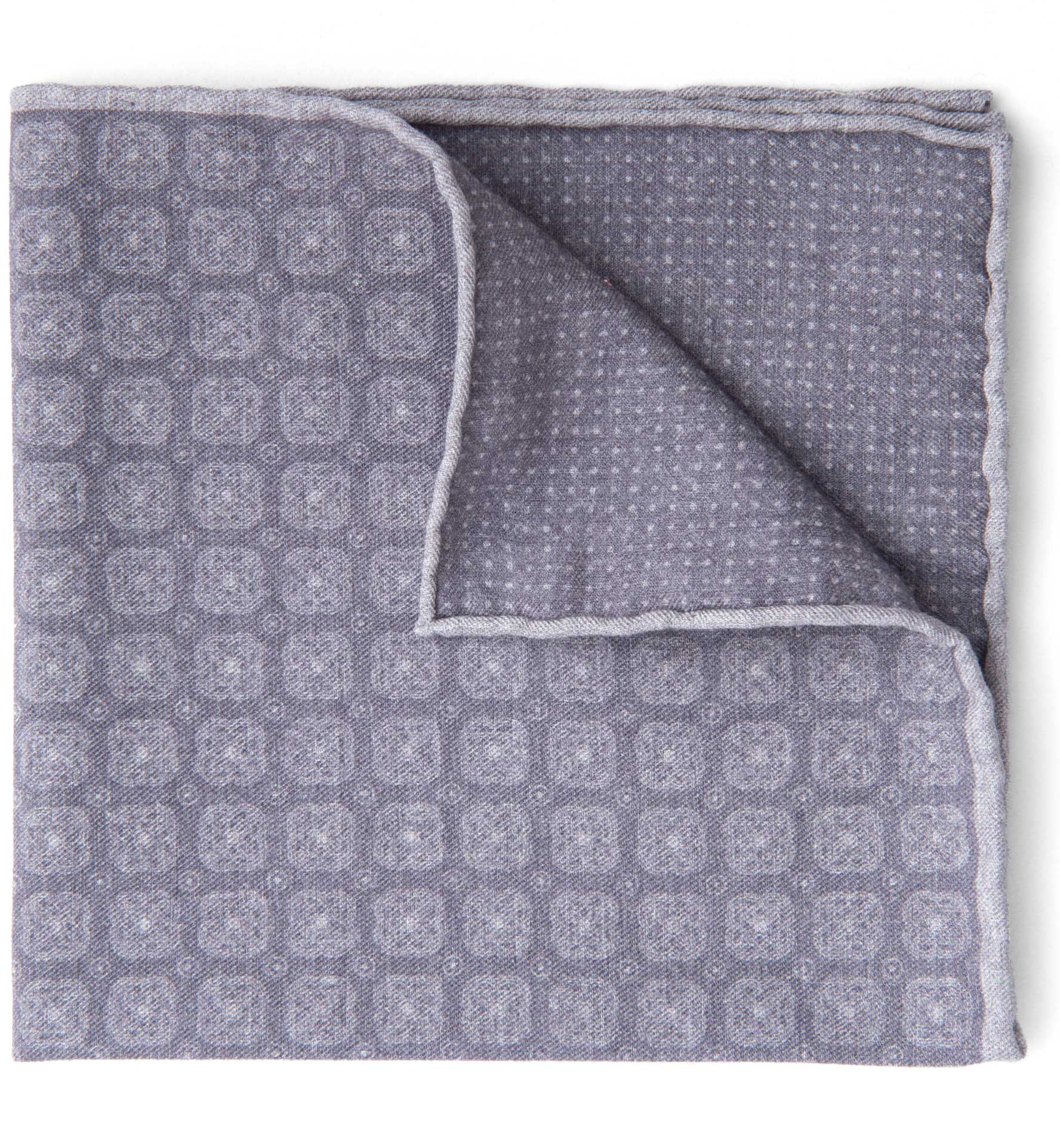 Zoom Image of Grey Printed Cotton and Wool Square