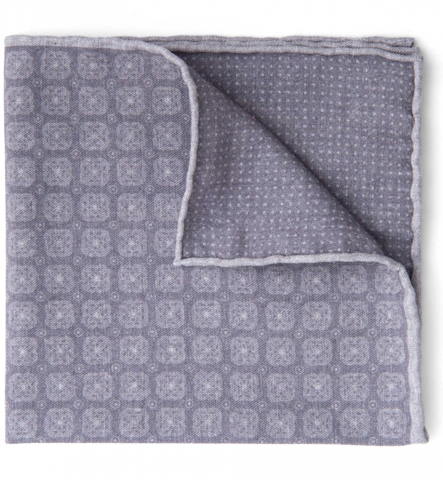 Grey Printed Cotton and Wool Square