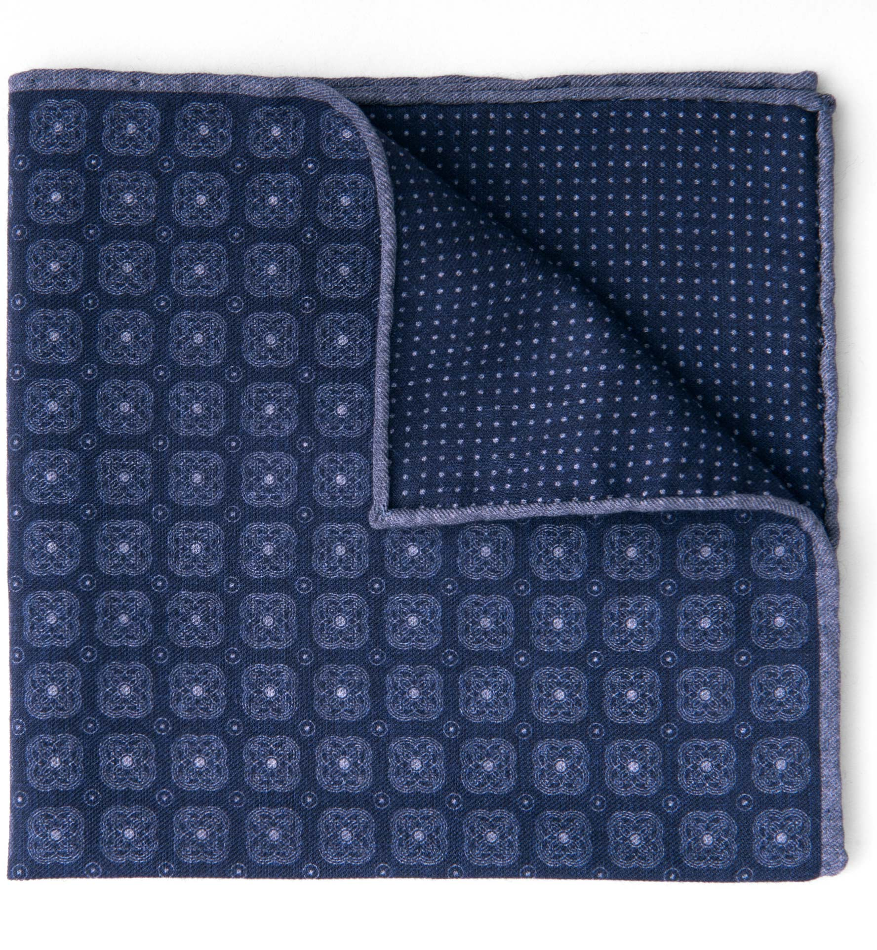 Zoom Image of Navy Printed Cotton and Wool Square