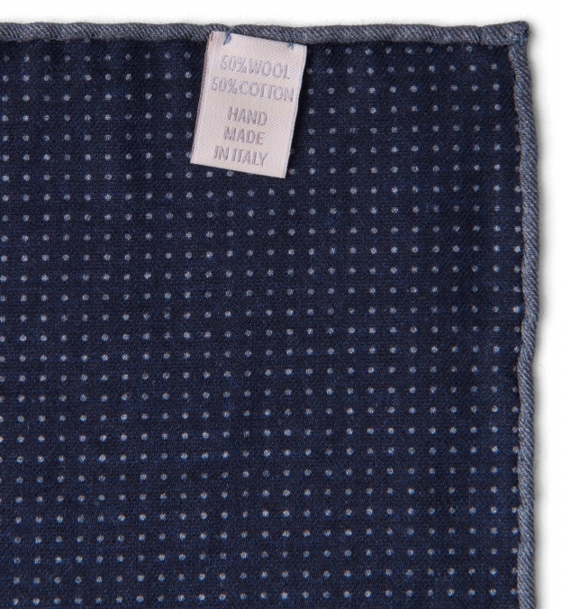 Navy Printed Cotton and Wool Square