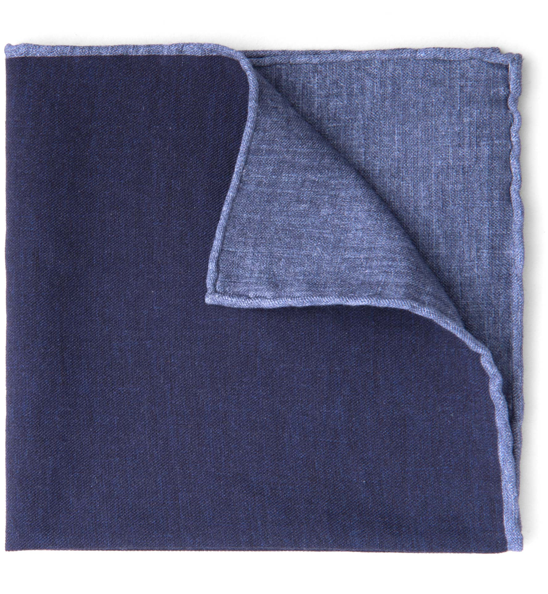 Zoom Image of Navy Melange Wool and Cotton Pocket Square