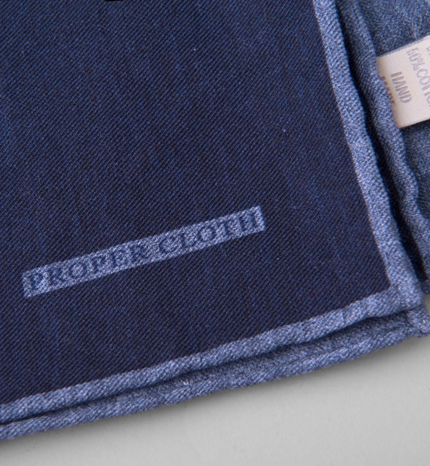 Navy Melange Wool and Cotton Pocket Square