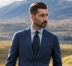 Navy Melange Wool and Cotton Pocket Square Product Thumbnail 5