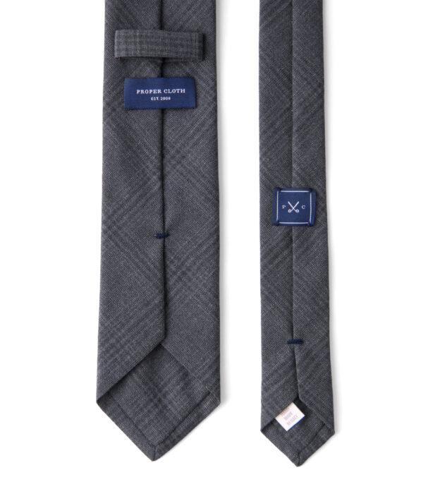 Charcoal Plaid Wool Tie