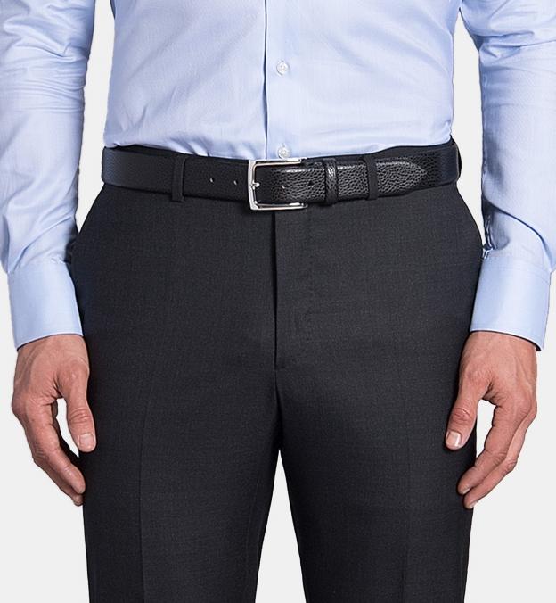Black Pebble Grain Leather Belt