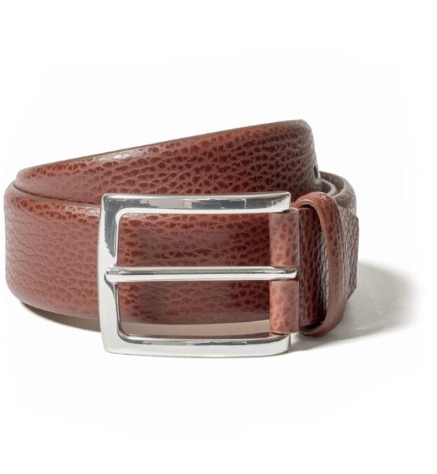 Brown Pebble Grain Leather Belt