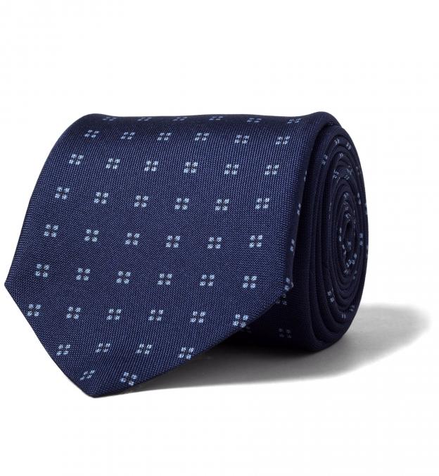 Navy Printed Silk Tie