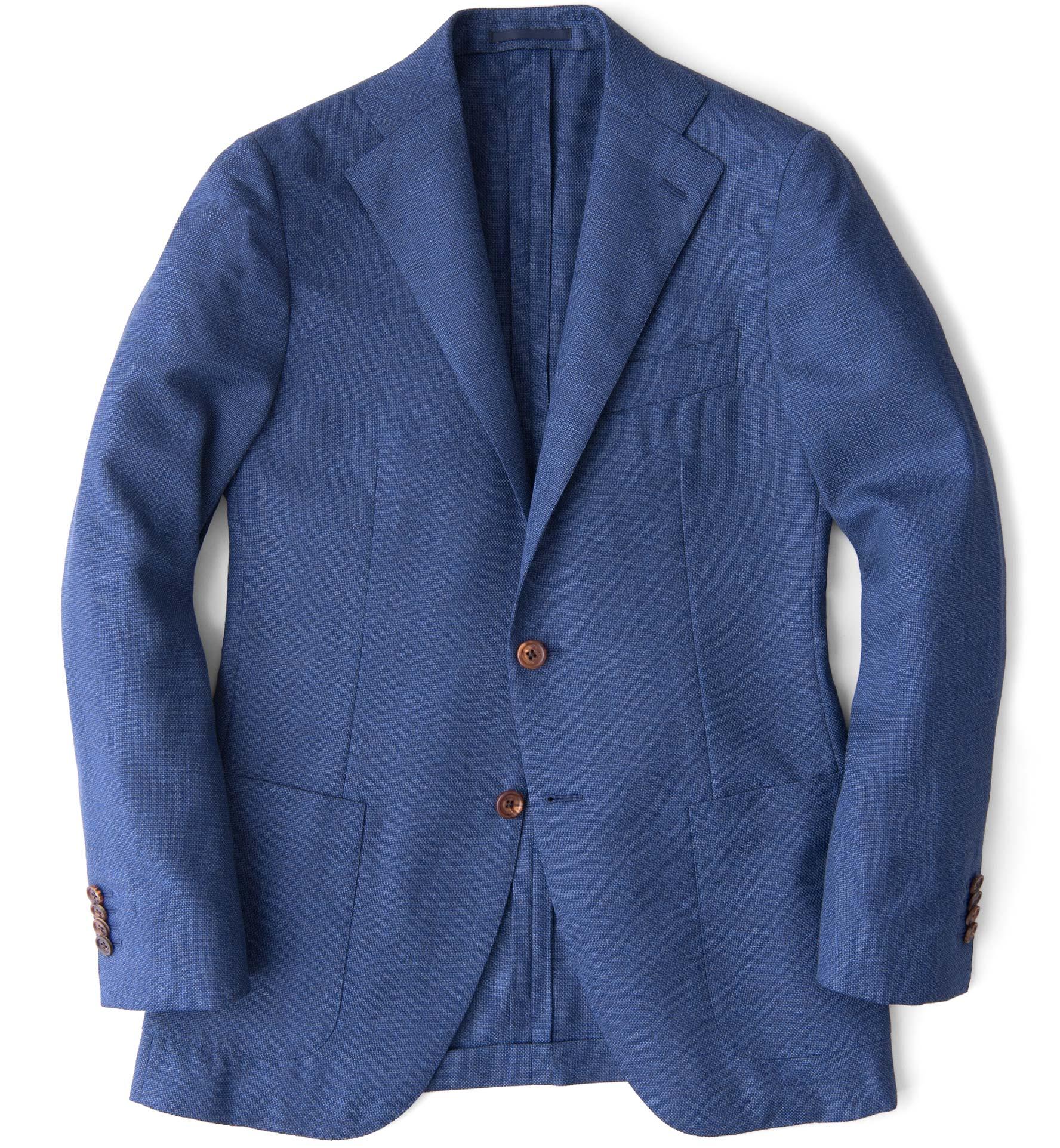 Zoom Image of Hudson Ocean Blue Melange Wool Hopsack Jacket