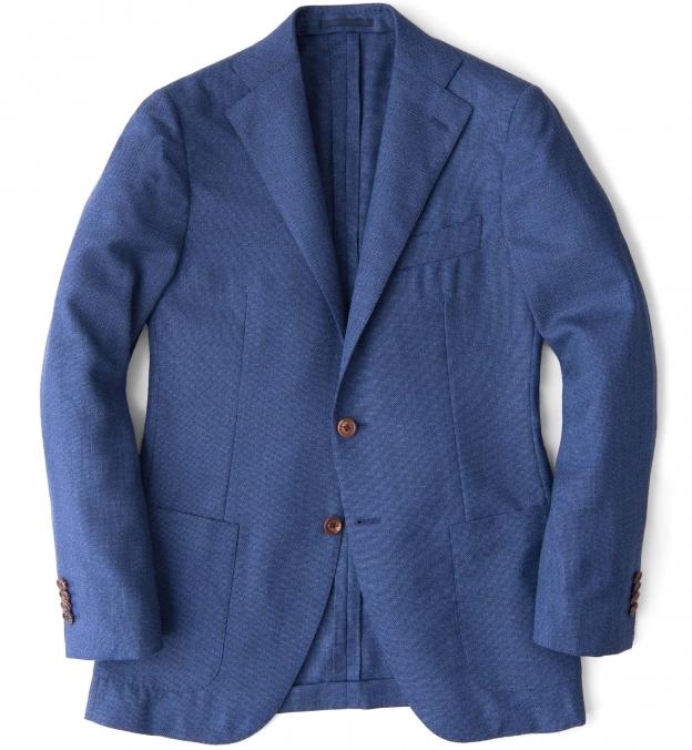 Hudson Ocean Blue Melange Wool Hopsack Jacket