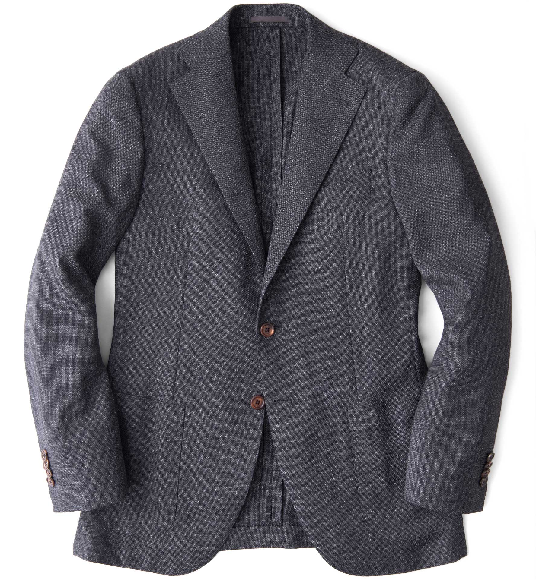 Zoom Image of Hudson Grey Melange Wool Hopsack Jacket