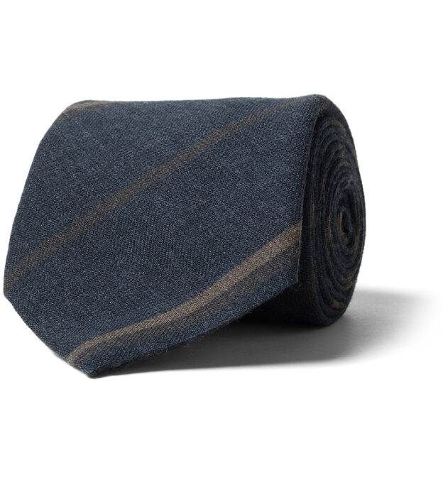 Navy and Brown Striped Wool Tie