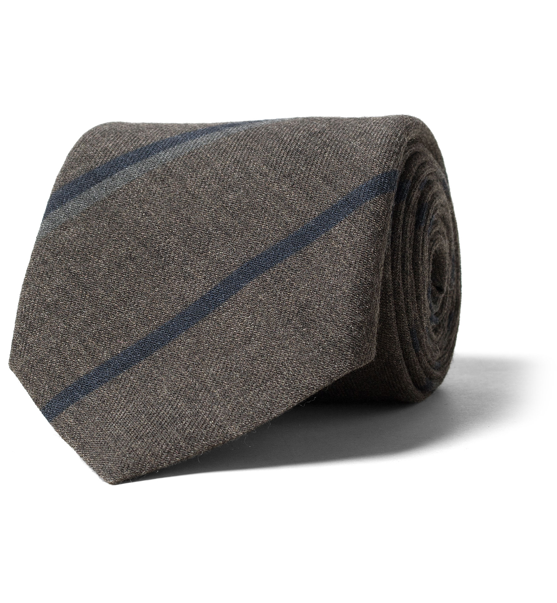 Zoom Image of Taupe and Navy Striped Wool Tie