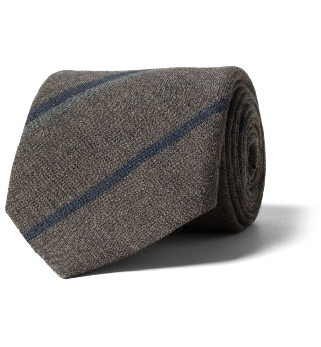 Taupe and Navy Striped Wool Tie