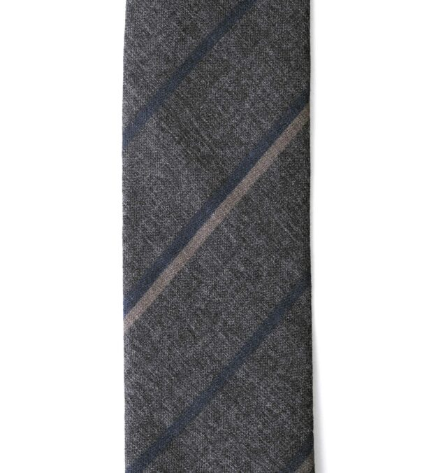 Grey and Navy Striped Wool Tie
