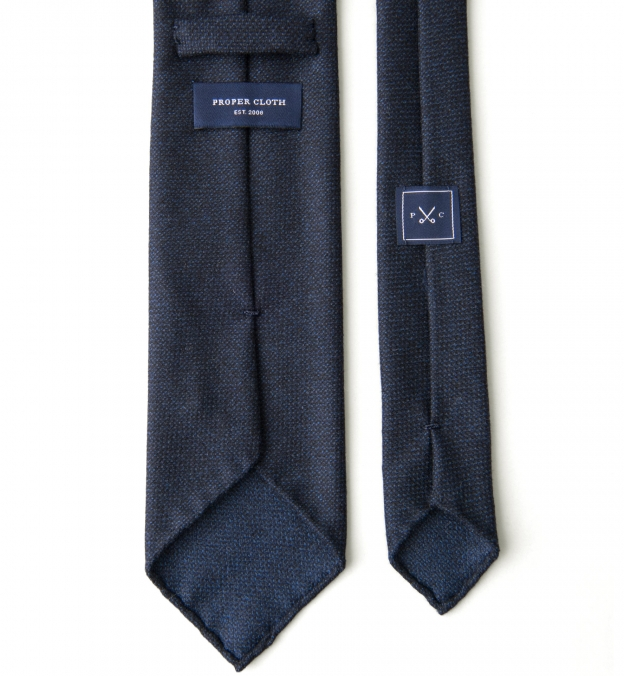 Navy Hopsack Wool Untipped Tie