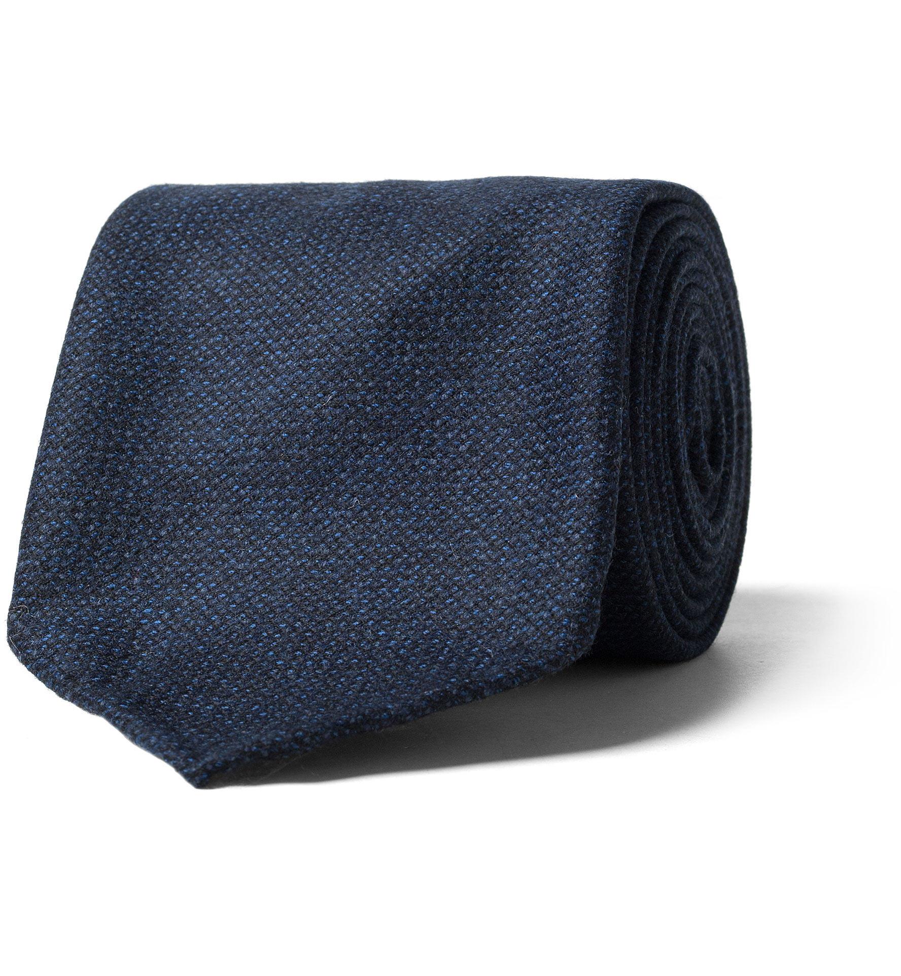 Zoom Image of Navy Hopsack Wool Untipped Tie